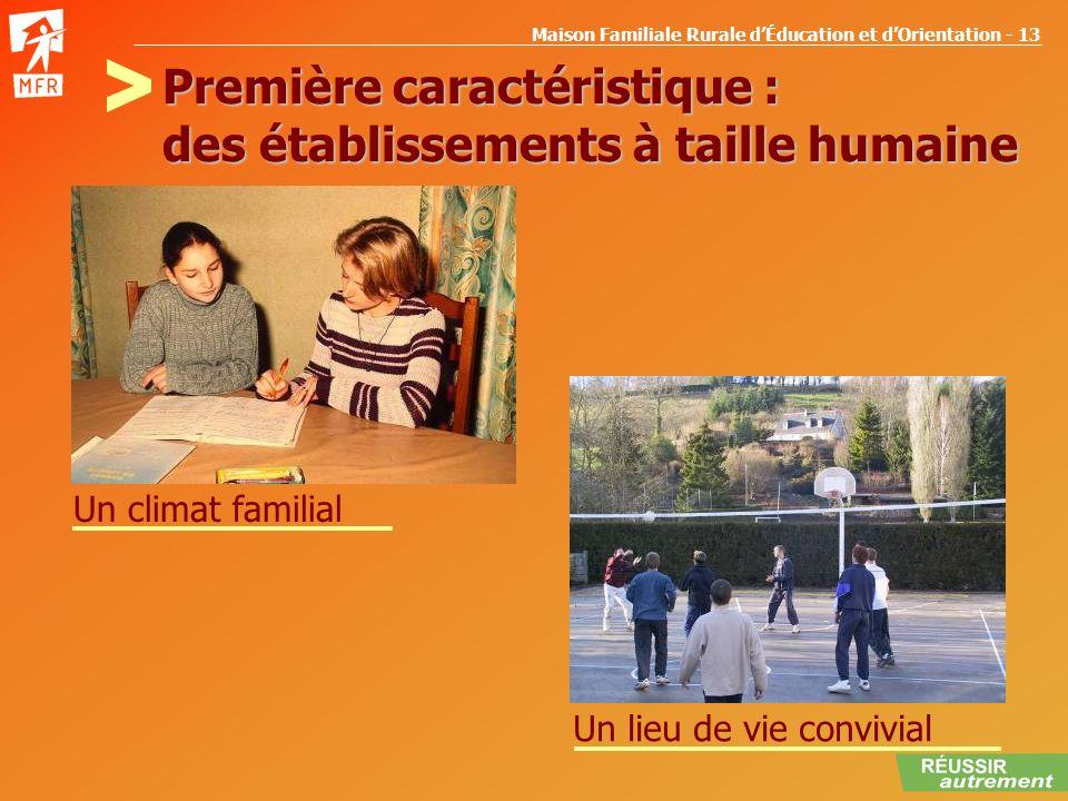 Maison Familiale Rurale dÉducation et dOrientation - 13 Première caractéristique : des établissements à taille humaine Un climat familial Un lieu de v