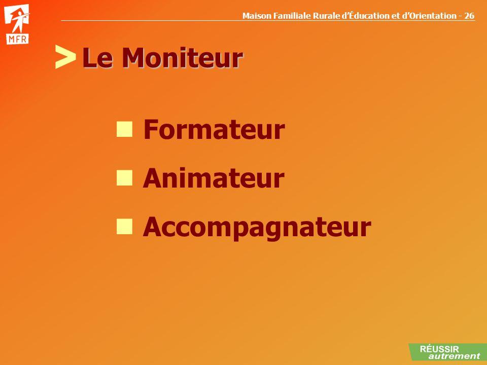 Maison Familiale Rurale dÉducation et dOrientation - 26 Le Moniteur Formateur Animateur Accompagnateur