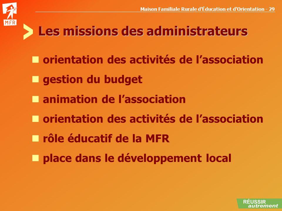Maison Familiale Rurale dÉducation et dOrientation - 29 Les missions des administrateurs orientation des activités de lassociation gestion du budget a