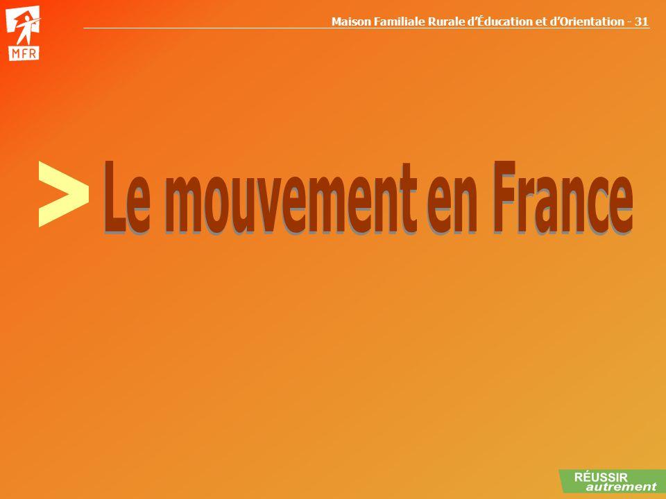 Maison Familiale Rurale dÉducation et dOrientation - 31 LE MOUVEMENT EN FRANCE