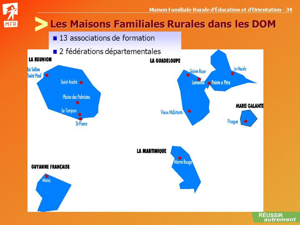 Maison Familiale Rurale dÉducation et dOrientation - 34 Les Maisons Familiales Rurales dans les DOM 13 associations de formation 2 fédérations départe