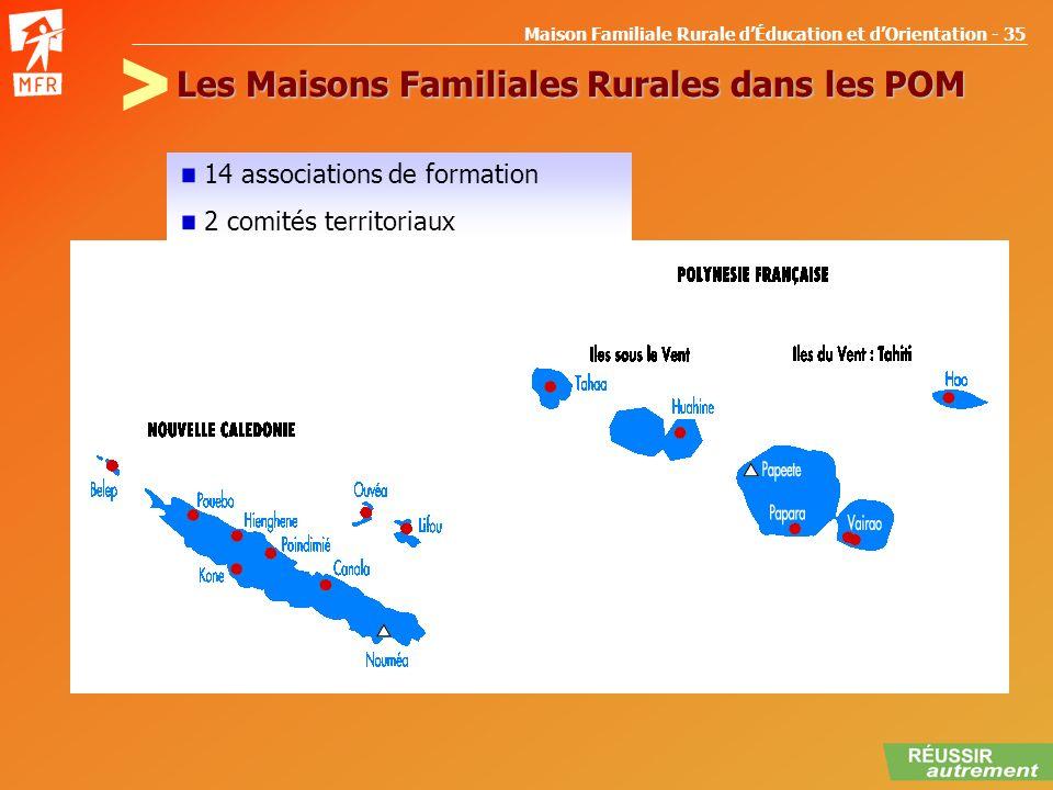 Maison Familiale Rurale dÉducation et dOrientation - 35 Les Maisons Familiales Rurales dans les POM 14 associations de formation 2 comités territoriau