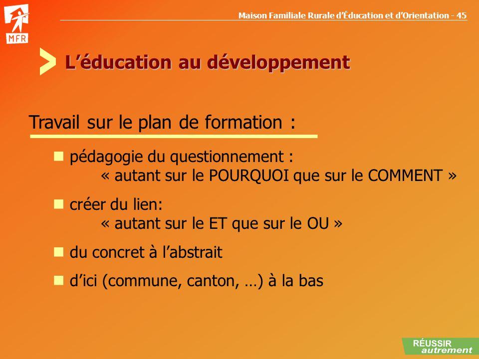 Maison Familiale Rurale dÉducation et dOrientation - 45 Léducation au développement pédagogie du questionnement : « autant sur le POURQUOI que sur le