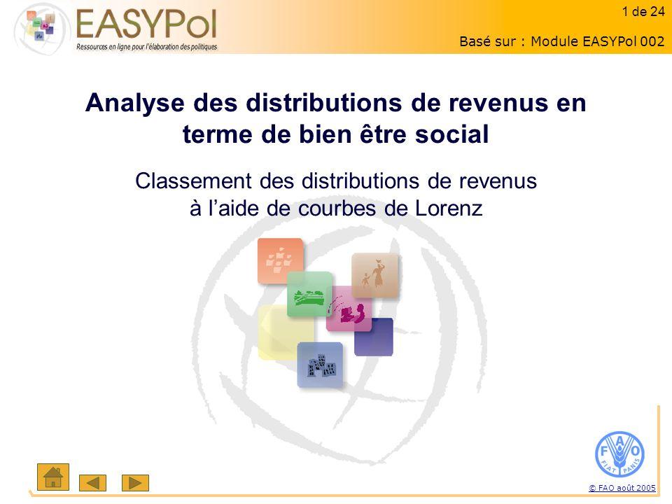 1 of 15 1 sur 23 © FAO août 2005 1 de 24 Analyse des distributions de revenus en terme de bien être social Classement des distributions de revenus à laide de courbes de Lorenz Basé sur : Module EASYPol 002