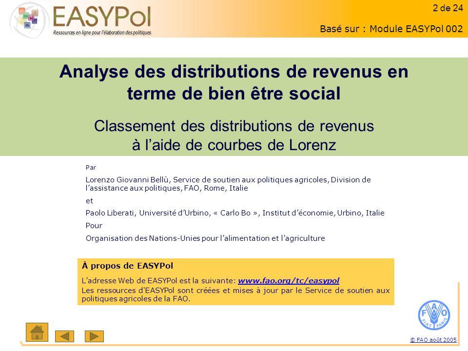 2 of 15 2 sur 23 © FAO août 2005 2 de 24 À propos de EASYPol Ladresse Web de EASYPol est la suivante: www.fao.org/tc/easypolwww.fao.org/tc/easypol Les ressources d EASYPol sont créées et mises à jour par le Service de soutien aux politiques agricoles de la FAO.