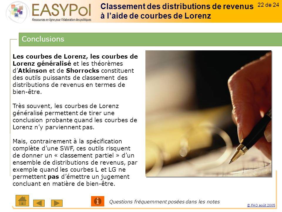 22 of 15 22 sur 23 © FAO août 2005 22 de 24 Les courbes de Lorenz, les courbes de Lorenz généralisé et les théorèmes dAtkinson et de Shorrocks constituent des outils puissants de classement des distributions de revenus en termes de bien-être.