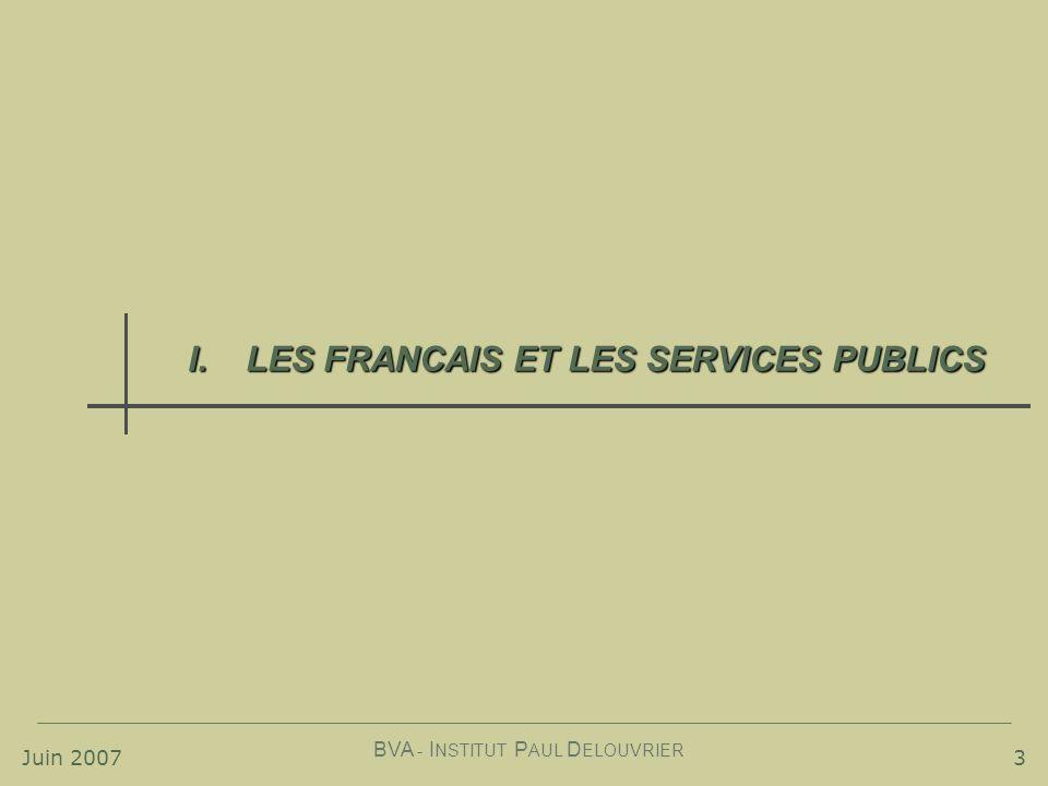 Juin 2007 BVA - I NSTITUT P AUL D ELOUVRIER 3 I.LES FRANCAIS ET LES SERVICES PUBLICS
