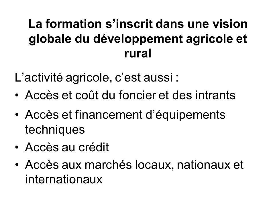 La formation sinscrit dans une vision globale du développement agricole et rural Lactivité agricole, cest aussi : Accès et coût du foncier et des intr