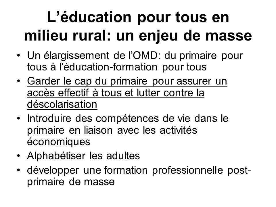 Léducation pour tous en milieu rural: un enjeu de masse Un élargissement de lOMD: du primaire pour tous à léducation-formation pour tous Garder le cap