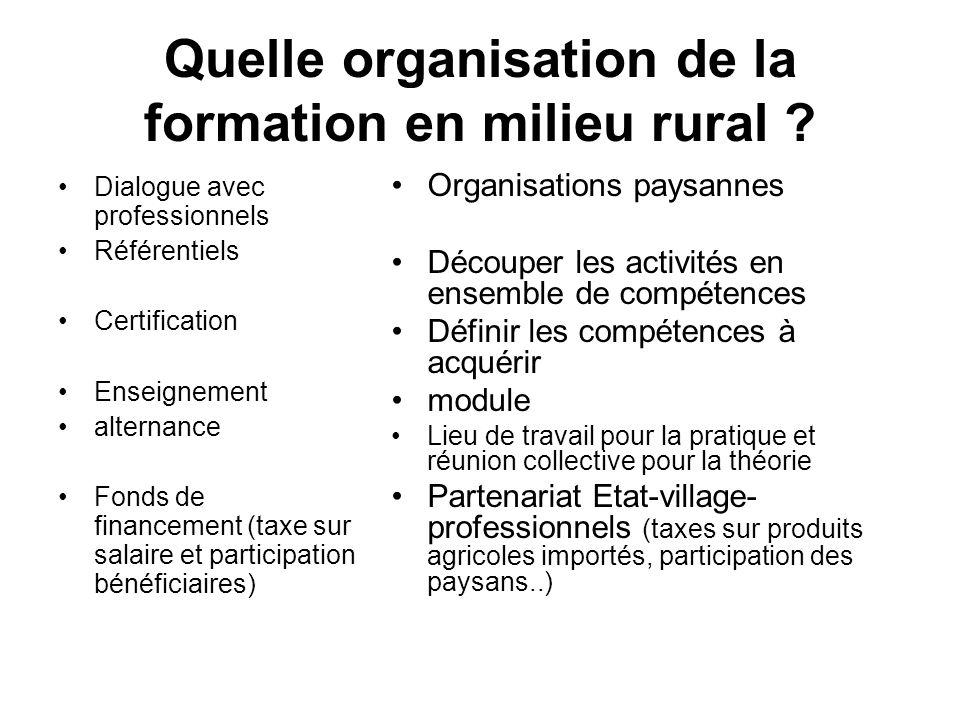 Quelle organisation de la formation en milieu rural ? Dialogue avec professionnels Référentiels Certification Enseignement alternance Fonds de finance