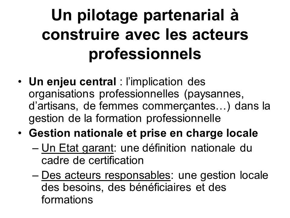 Un pilotage partenarial à construire avec les acteurs professionnels Un enjeu central : limplication des organisations professionnelles (paysannes, da