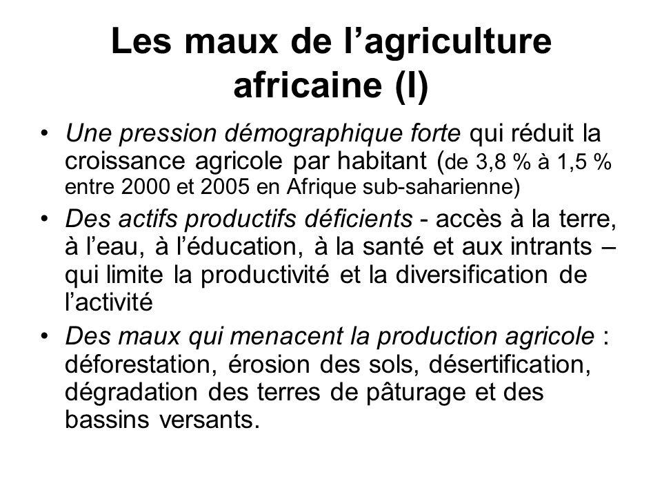 Les maux de lagriculture africaine (I) Une pression démographique forte qui réduit la croissance agricole par habitant ( de 3,8 % à 1,5 % entre 2000 e