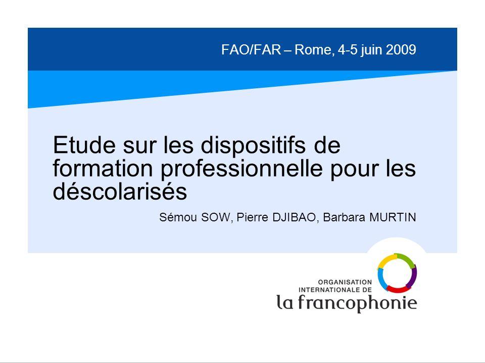 FAO/FAR – Rome, 4-5 juin 2009 Etude sur les dispositifs de formation professionnelle pour les déscolarisés Sémou SOW, Pierre DJIBAO, Barbara MURTIN