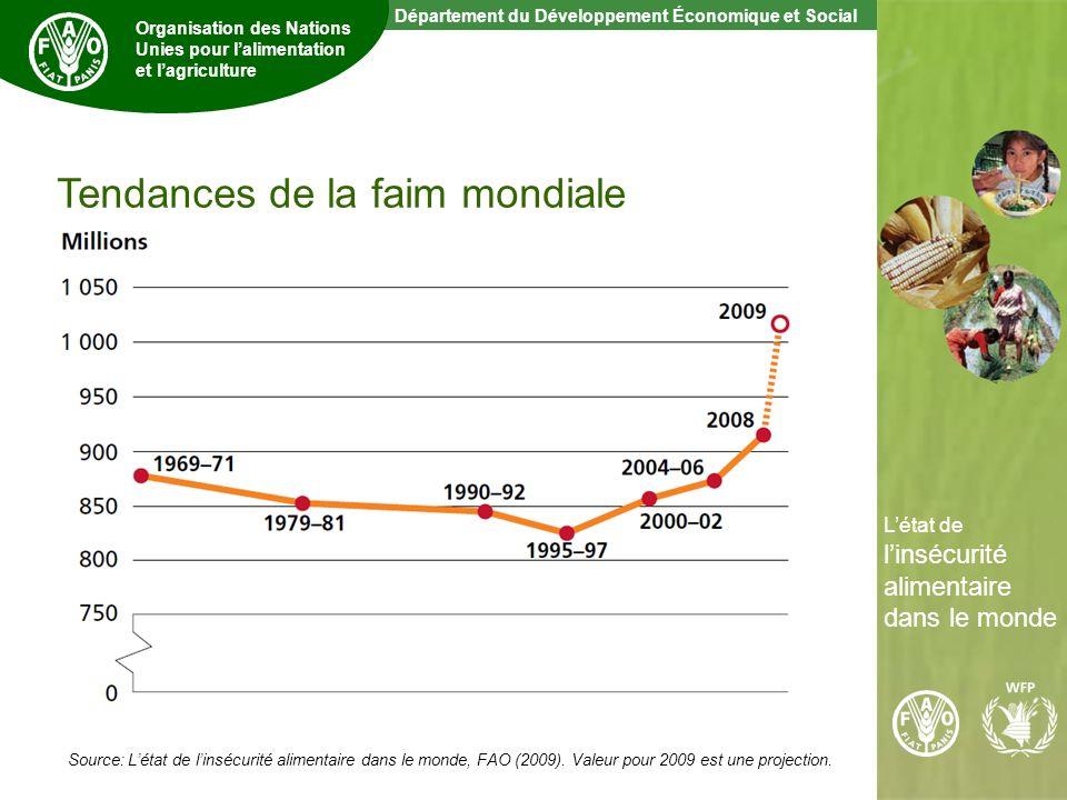 3 The State of Food Insecurity in the World Département du Développement Économique et Social Organisation des Nations Unies pour lalimentation et lagriculture Létat de linsécurité alimentaire dans le monde Source: Létat de linsécurité alimentaire dans le monde, FAO (2009).