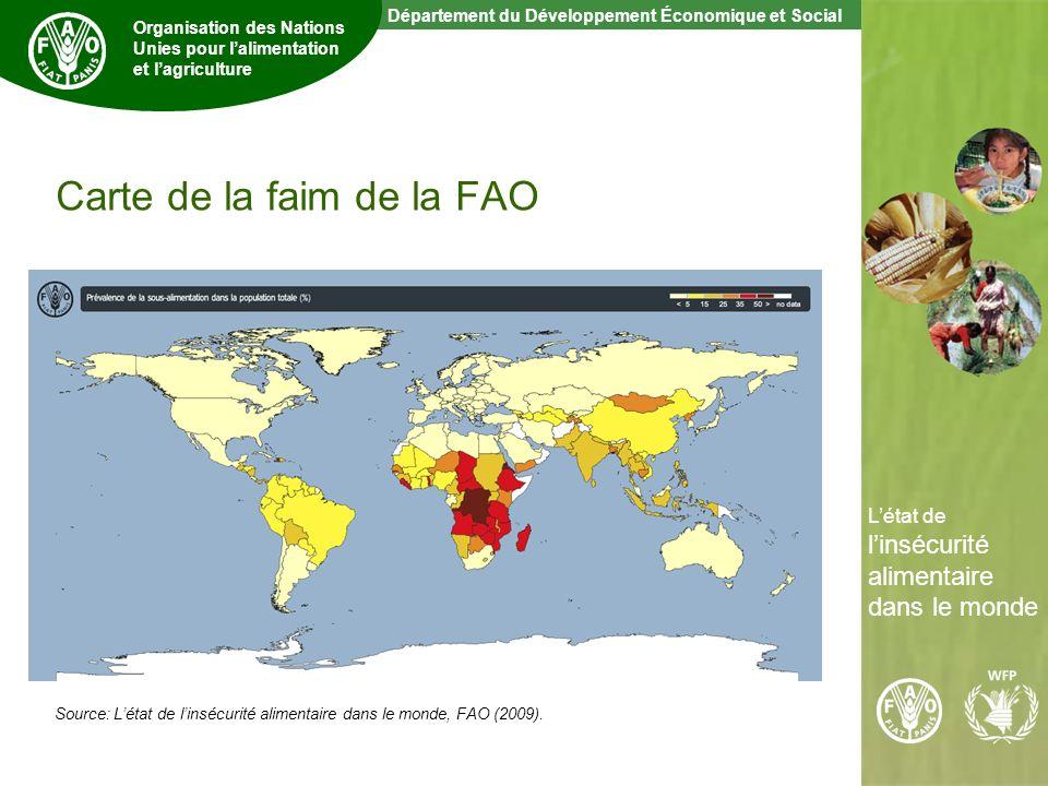 5 The State of Food Insecurity in the World Département du Développement Économique et Social Organisation des Nations Unies pour lalimentation et lagriculture Létat de linsécurité alimentaire dans le monde Carte de la faim de la FAO Source: Létat de linsécurité alimentaire dans le monde, FAO (2009).