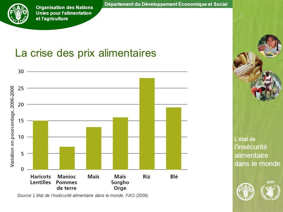 7 The State of Food Insecurity in the World Département du Développement Économique et Social Organisation des Nations Unies pour lalimentation et lagriculture Létat de linsécurité alimentaire dans le monde La crise des prix alimentaires Source: Létat de linsécurité alimentaire dans le monde, FAO (2009).