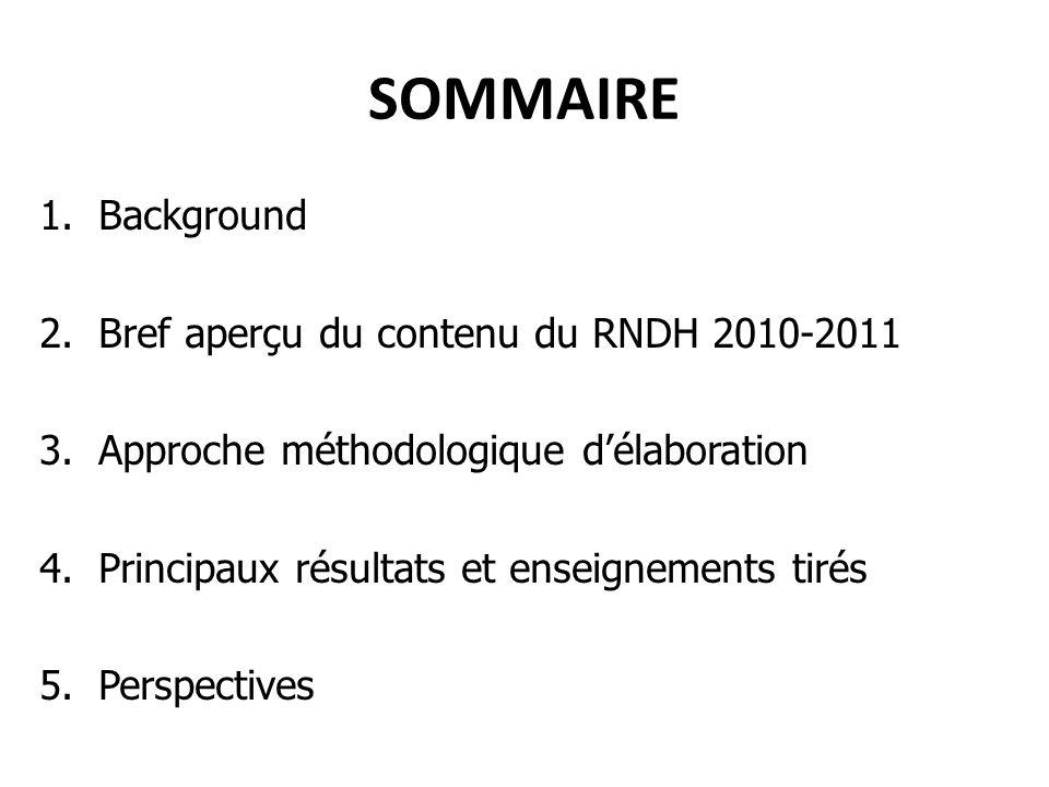 SOMMAIRE 1.Background 2.Bref aperçu du contenu du RNDH 2010-2011 3.Approche méthodologique délaboration 4.Principaux résultats et enseignements tirés