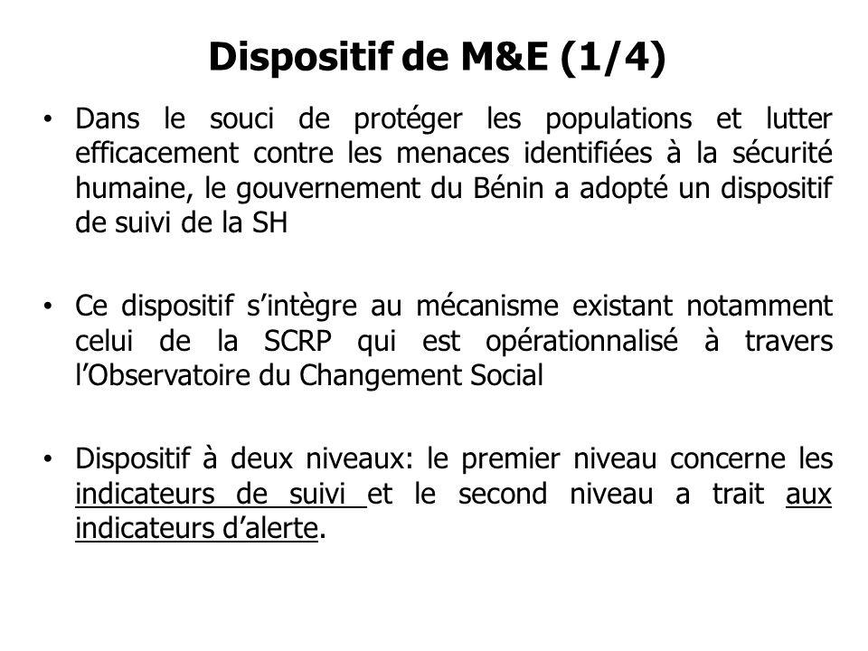 Dispositif de M&E (1/4) Dans le souci de protéger les populations et lutter efficacement contre les menaces identifiées à la sécurité humaine, le gouv