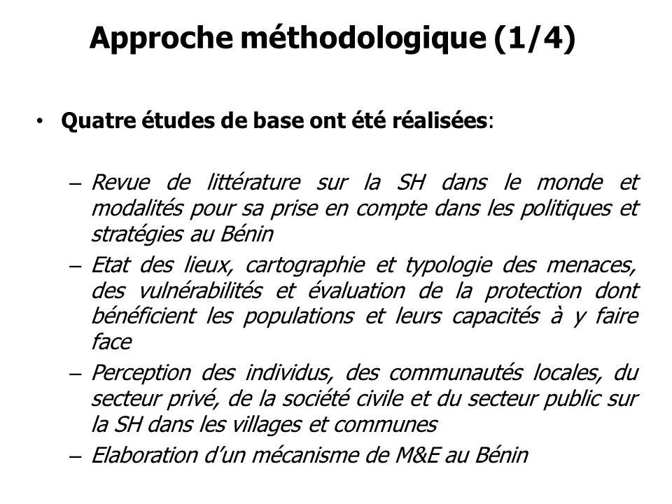 Approche méthodologique (1/4) Quatre études de base ont été réalisées: – Revue de littérature sur la SH dans le monde et modalités pour sa prise en co
