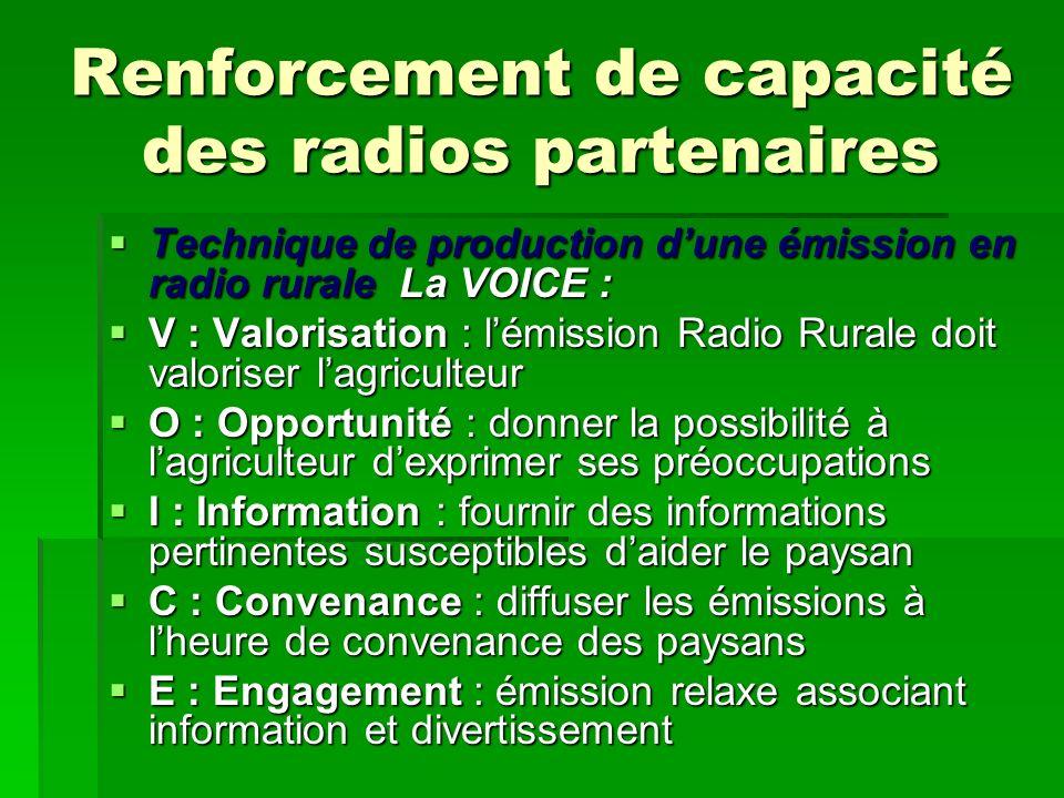 Renforcement de capacité des radios partenaires Technique de production dune émission en radio rurale La VOICE : Technique de production dune émission