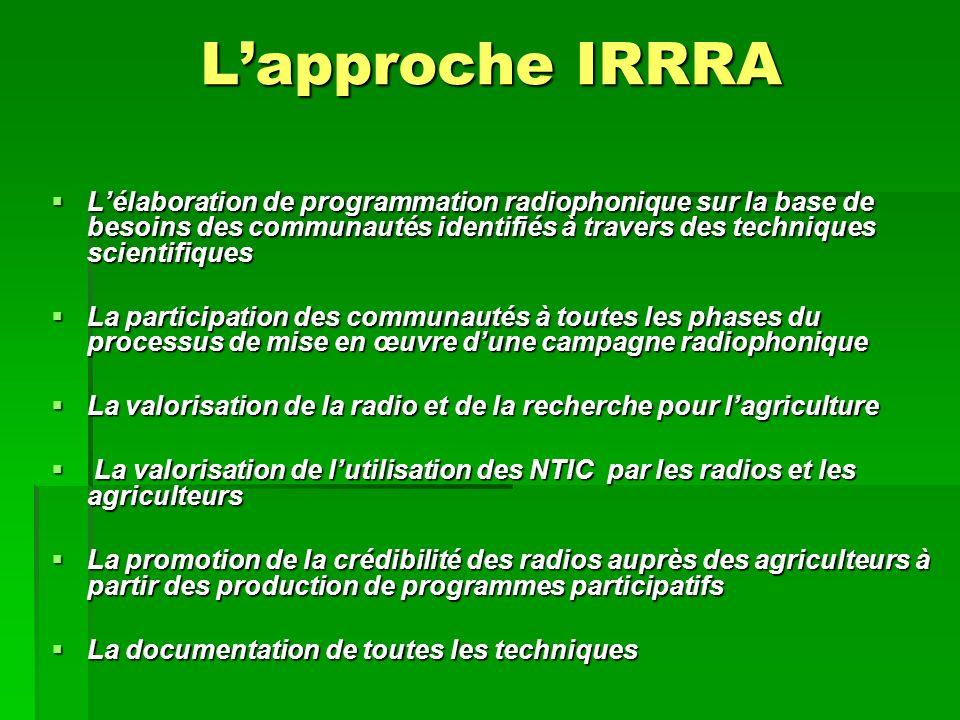 Lélaboration de programmation radiophonique sur la base de besoins des communautés identifiés à travers des techniques scientifiques La participation