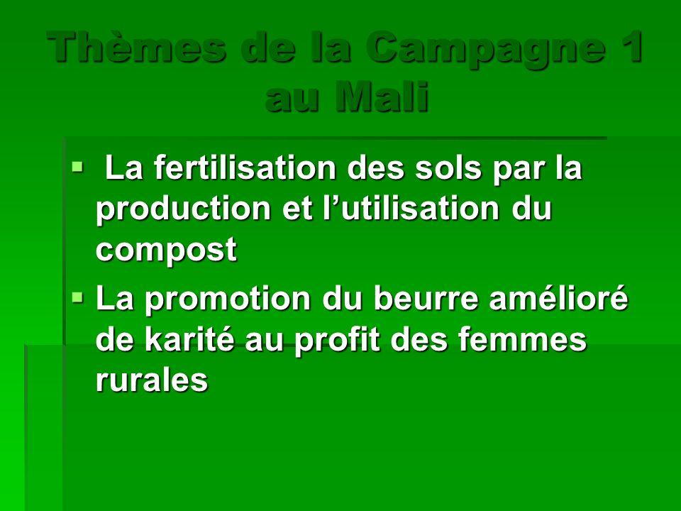 Thèmes de la Campagne 1 au Mali a fertilisation des sols par la production et lutilisation du compost La promotion du beurre amélioré de karité au pro