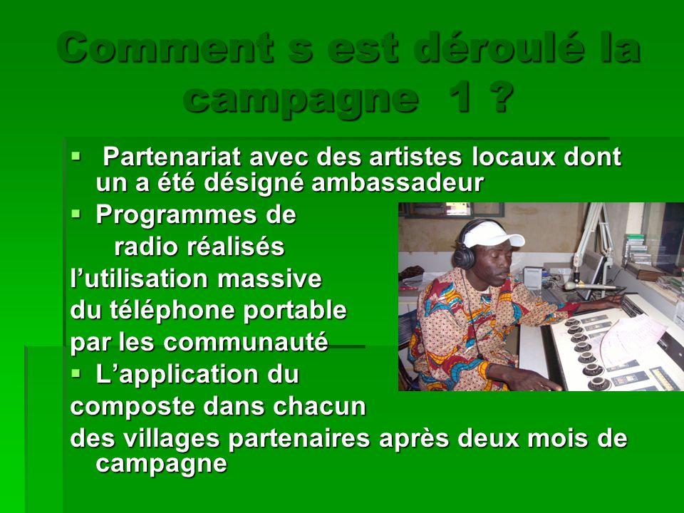 Comment s est déroulé la campagne 1 ? P Partenariat avec des artistes locaux dont un a été désigné ambassadeur Programmes de radio réalisés lutilisati