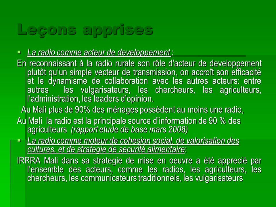 Leçons apprises La radio comme acteur de developpement : En reconnaissant à la radio rurale son rôle dacteur de developpement plutôt quun simple vecte
