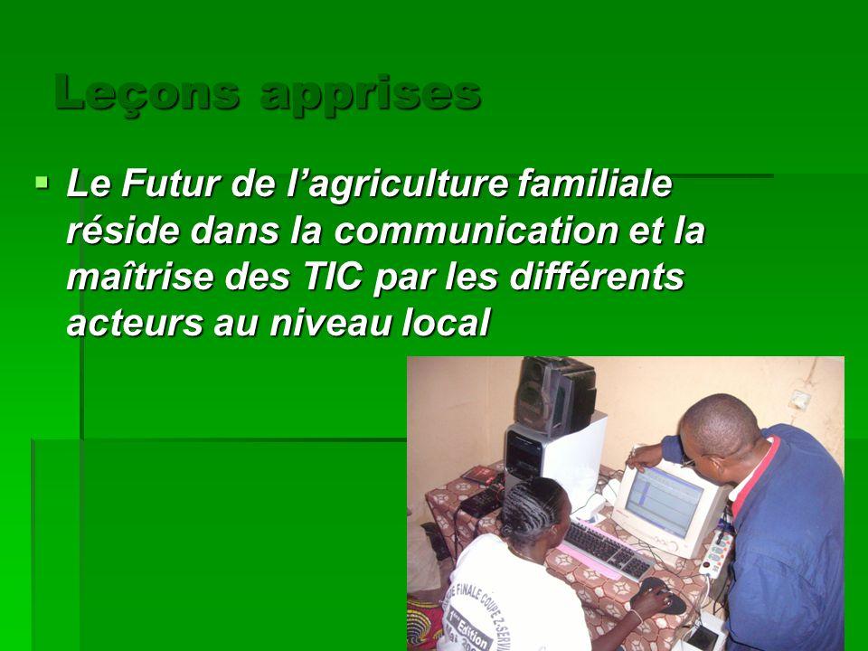 Leçons apprises Le Futur de lagriculture familiale réside dans la communication et la maîtrise des TIC par les différents acteurs au niveau local