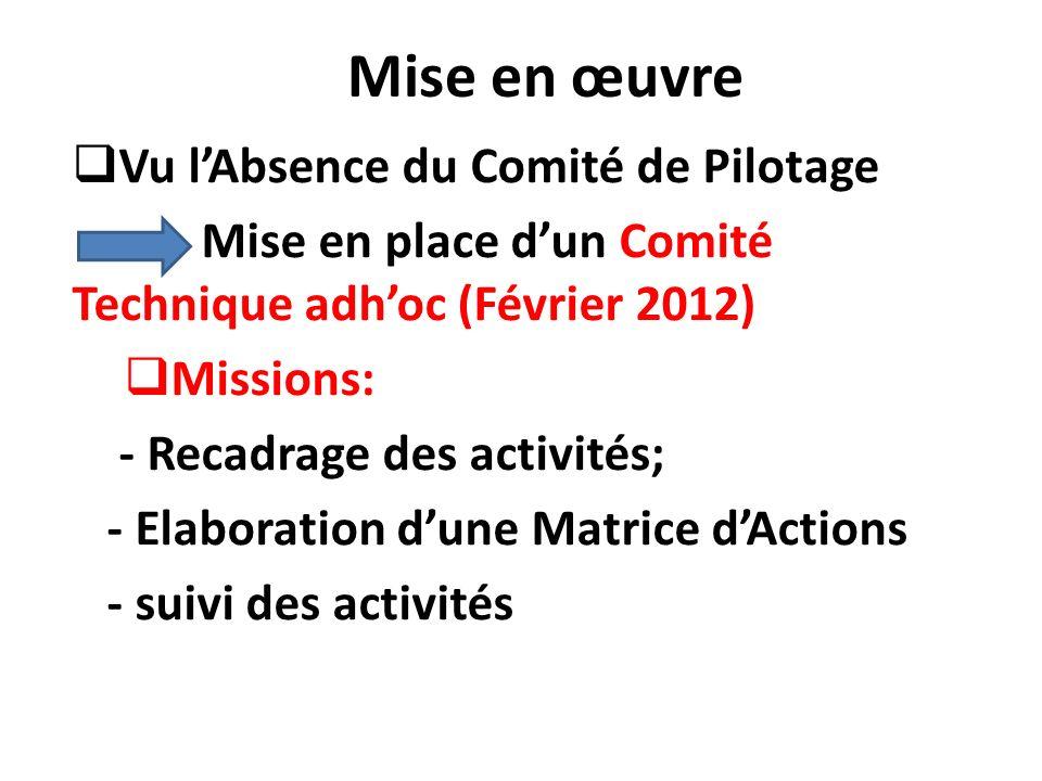Mise en œuvre Vu lAbsence du Comité de Pilotage Mise en place dun Comité Technique adhoc (Février 2012) Missions: - Recadrage des activités; - Elabora