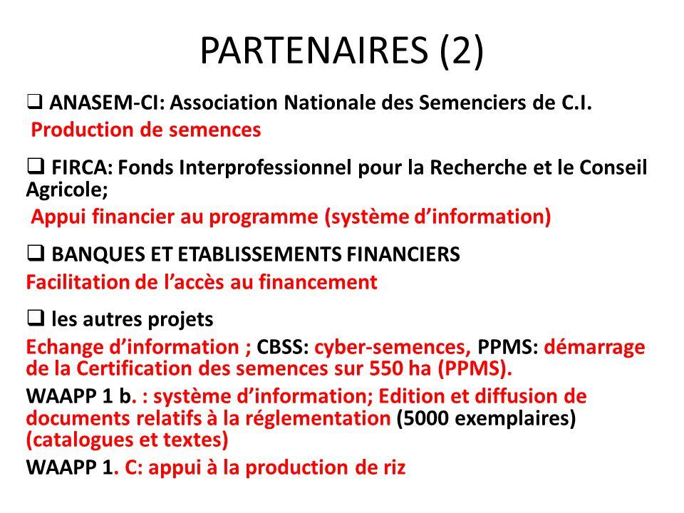 PARTENAIRES (2) ANASEM-CI: Association Nationale des Semenciers de C.I. Production de semences FIRCA: Fonds Interprofessionnel pour la Recherche et le