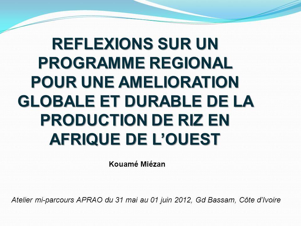 REFLEXIONS SUR UN PROGRAMME REGIONAL POUR UNE AMELIORATION GLOBALE ET DURABLE DE LA PRODUCTION DE RIZ EN AFRIQUE DE LOUEST Kouamé Miézan Atelier mi-pa