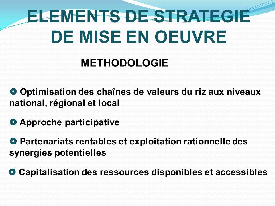 ELEMENTS DE STRATEGIE DE MISE EN OEUVRE METHODOLOGIE Optimisation des chaînes de valeurs du riz aux niveaux national, régional et local Approche parti