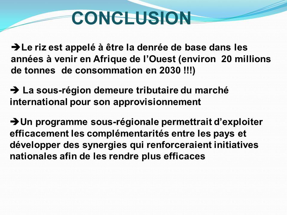 CONCLUSION La sous-région demeure tributaire du marché international pour son approvisionnement Le riz est appelé à être la denrée de base dans les an