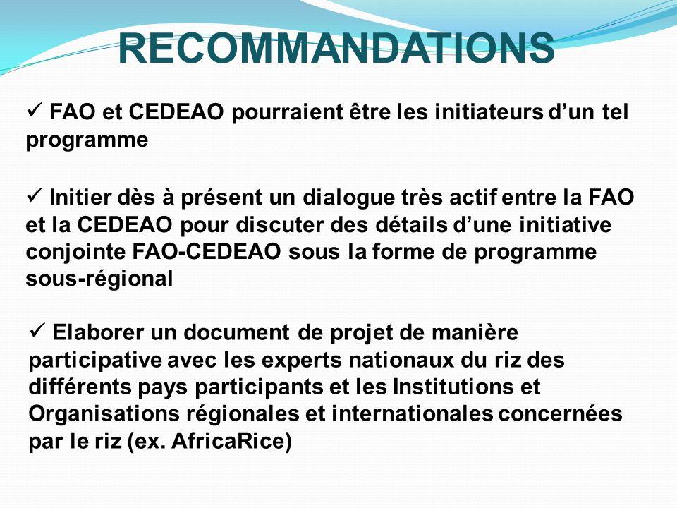 RECOMMANDATIONS FAO et CEDEAO pourraient être les initiateurs dun tel programme Initier dès à présent un dialogue très actif entre la FAO et la CEDEAO