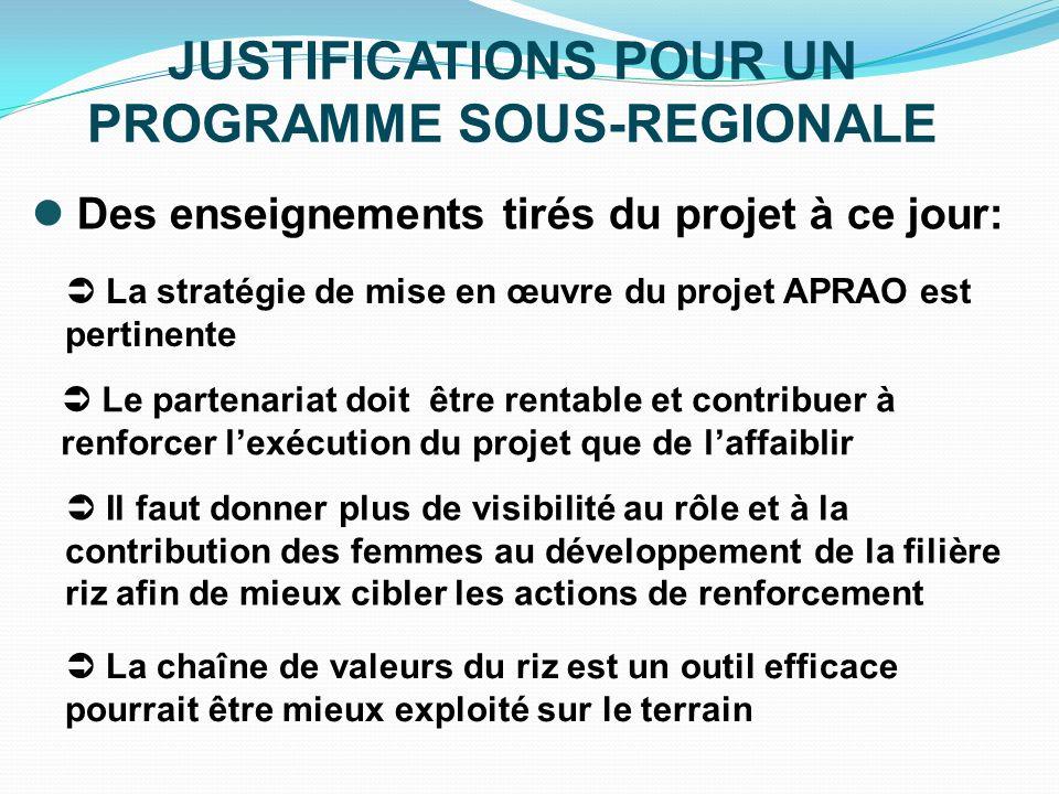 JUSTIFICATIONS POUR UN PROGRAMME SOUS-REGIONALE Des enseignements tirés du projet à ce jour: La stratégie de mise en œuvre du projet APRAO est pertine