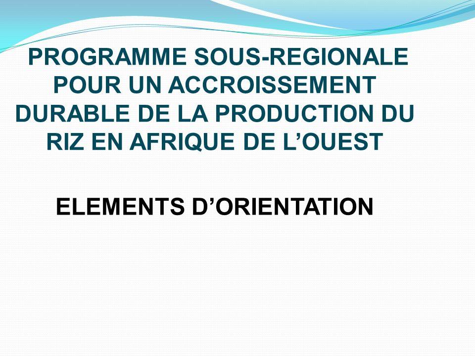 PROGRAMME SOUS-REGIONALE POUR UN ACCROISSEMENT DURABLE DE LA PRODUCTION DU RIZ EN AFRIQUE DE LOUEST ELEMENTS DORIENTATION