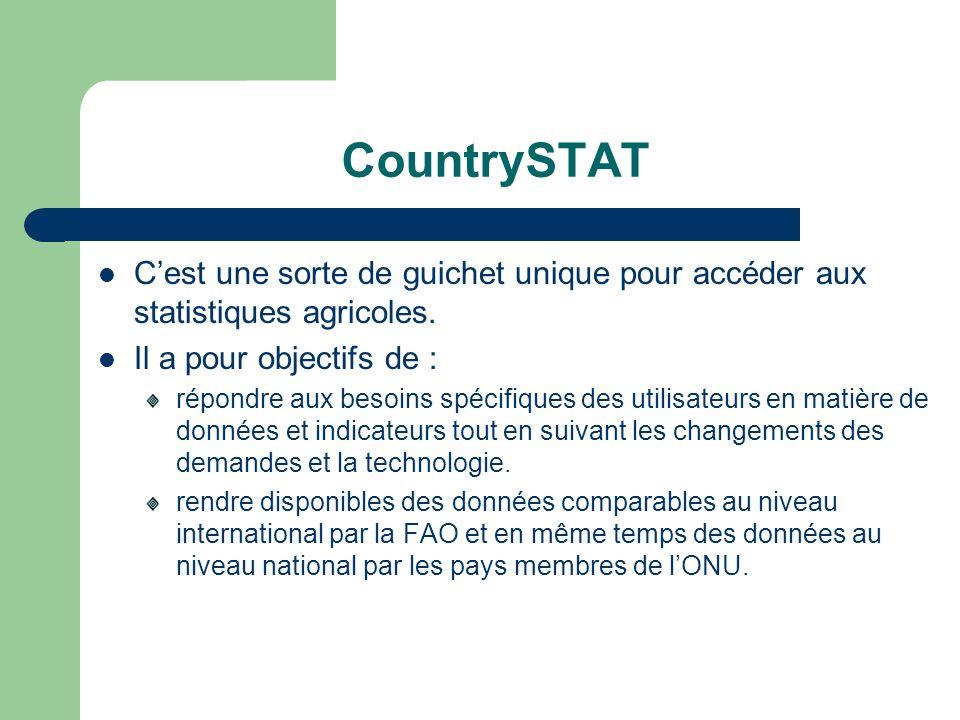 CountrySTAT Cest une sorte de guichet unique pour accéder aux statistiques agricoles. Il a pour objectifs de : répondre aux besoins spécifiques des ut