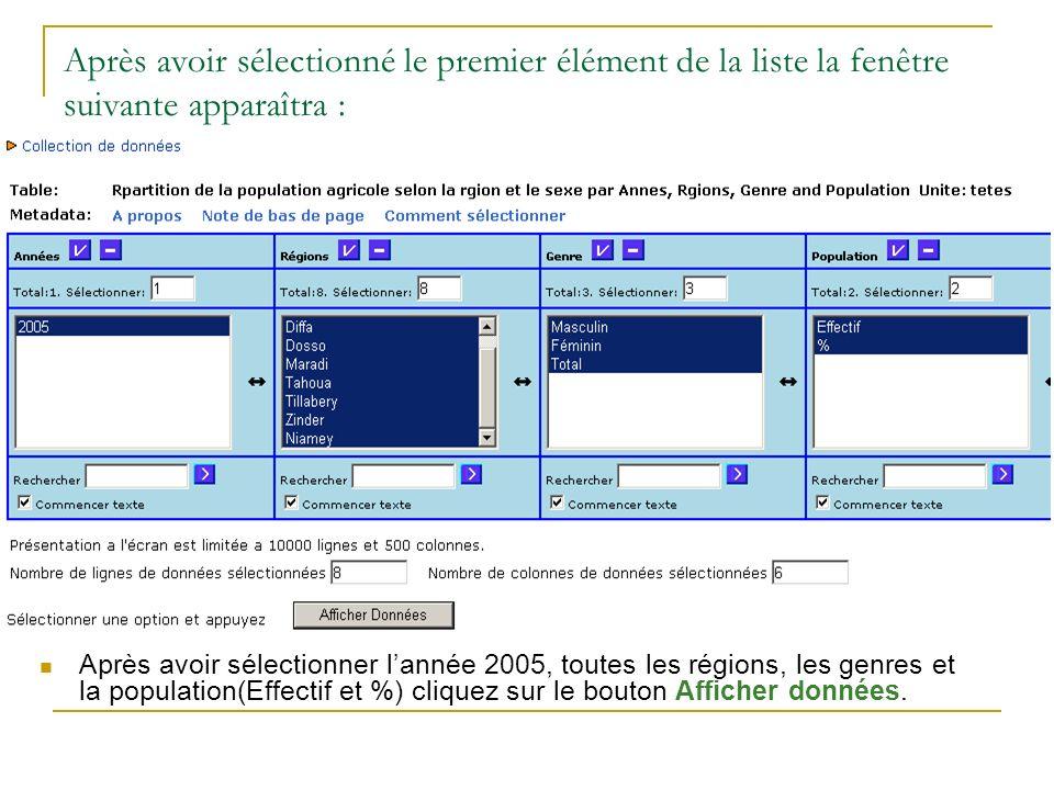 Après avoir sélectionné le premier élément de la liste la fenêtre suivante apparaîtra : Après avoir sélectionner lannée 2005, toutes les régions, les