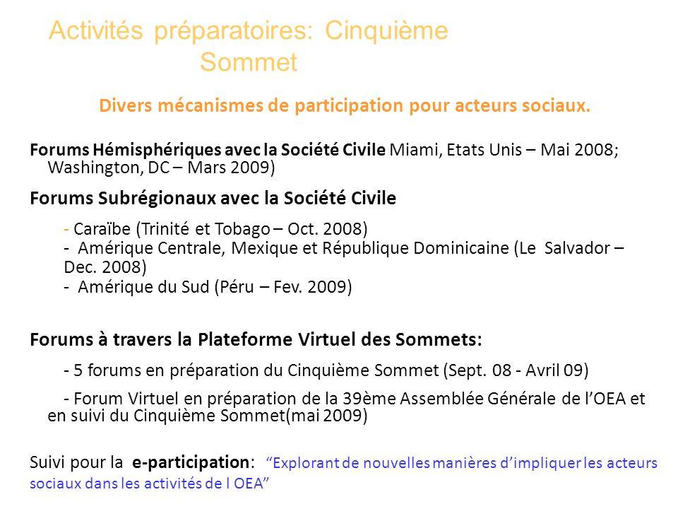 Activités préparatoires: Cinquième Sommet Divers mécanismes de participation pour acteurs sociaux. Forums Hémisphériques avec la Société Civile Miami,