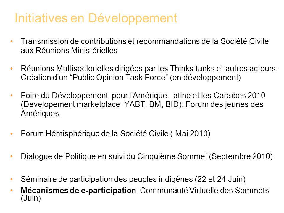 Initiatives en Développement Transmission de contributions et recommandations de la Société Civile aux Réunions Ministérielles Réunions Multisectoriel