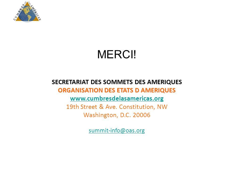 MERCI! SECRETARIAT DES SOMMETS DES AMERIQUES ORGANISATION DES ETATS D AMERIQUES www.cumbresdelasamericas.org 19th Street & Ave. Constitution, NW Washi