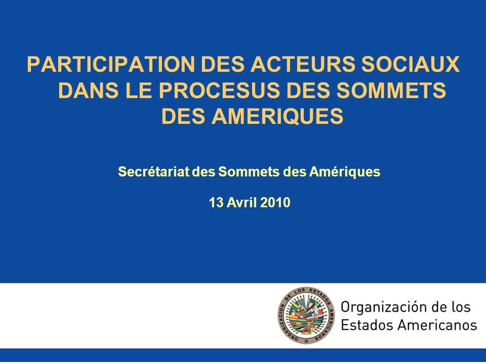 SOMMAIRE 1.Evolution de la participation et qui sont les acteurs sociaux 2.