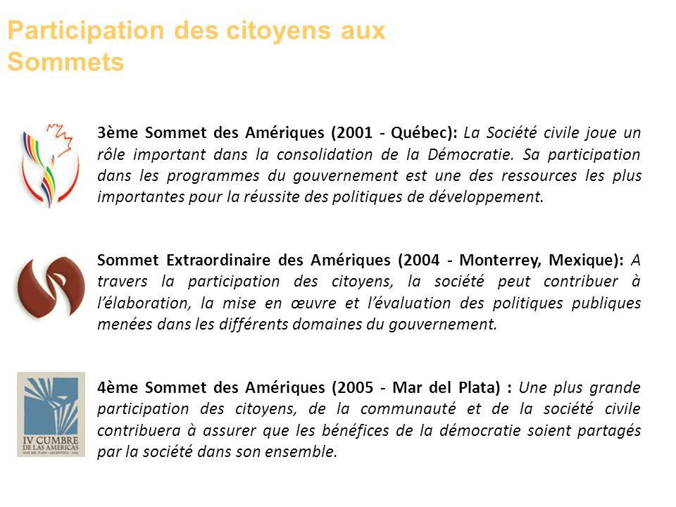 3ème Sommet des Amériques (2001 - Québec): La Société civile joue un rôle important dans la consolidation de la Démocratie. Sa participation dans les