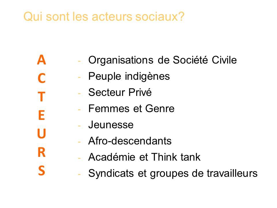 Qui sont les acteurs sociaux? - Organisations de Société Civile - Peuple indigènes - Secteur Privé - Femmes et Genre - Jeunesse - Afro-descendants - A