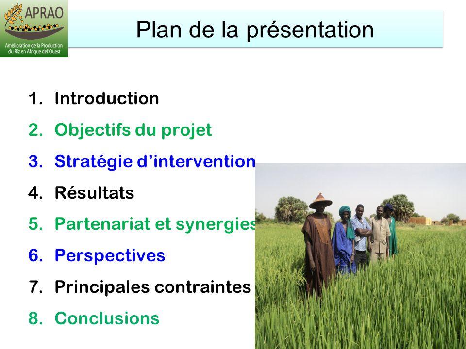 Plan de la présentation 1.Introduction 2.Objectifs du projet 3.Stratégie dintervention 4.Résultats 5.Partenariat et synergies 6.Perspectives 7.Princip