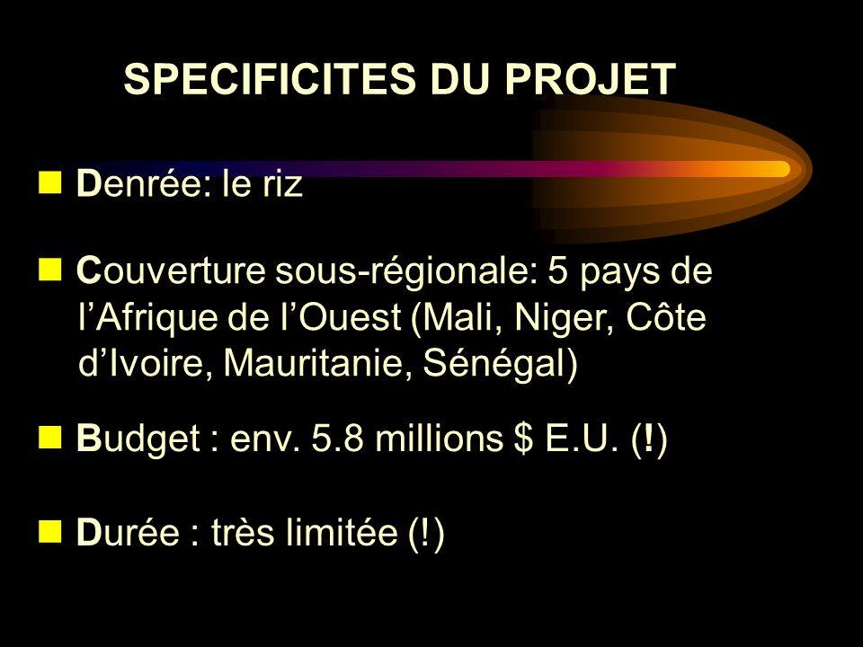 SPECIFICITES DU PROJET Denrée: le riz Couverture sous-régionale: 5 pays de lAfrique de lOuest (Mali, Niger, Côte dIvoire, Mauritanie, Sénégal) Budget
