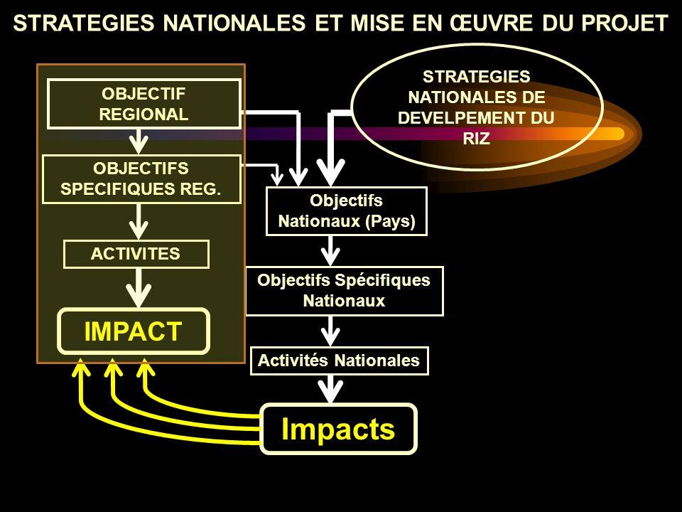 OBJECTIF REGIONAL OBJECTIFS SPECIFIQUES REG. ACTIVITES Objectifs Nationaux (Pays) Objectifs Spécifiques Nationaux Impacts Activités Nationales STRATEG