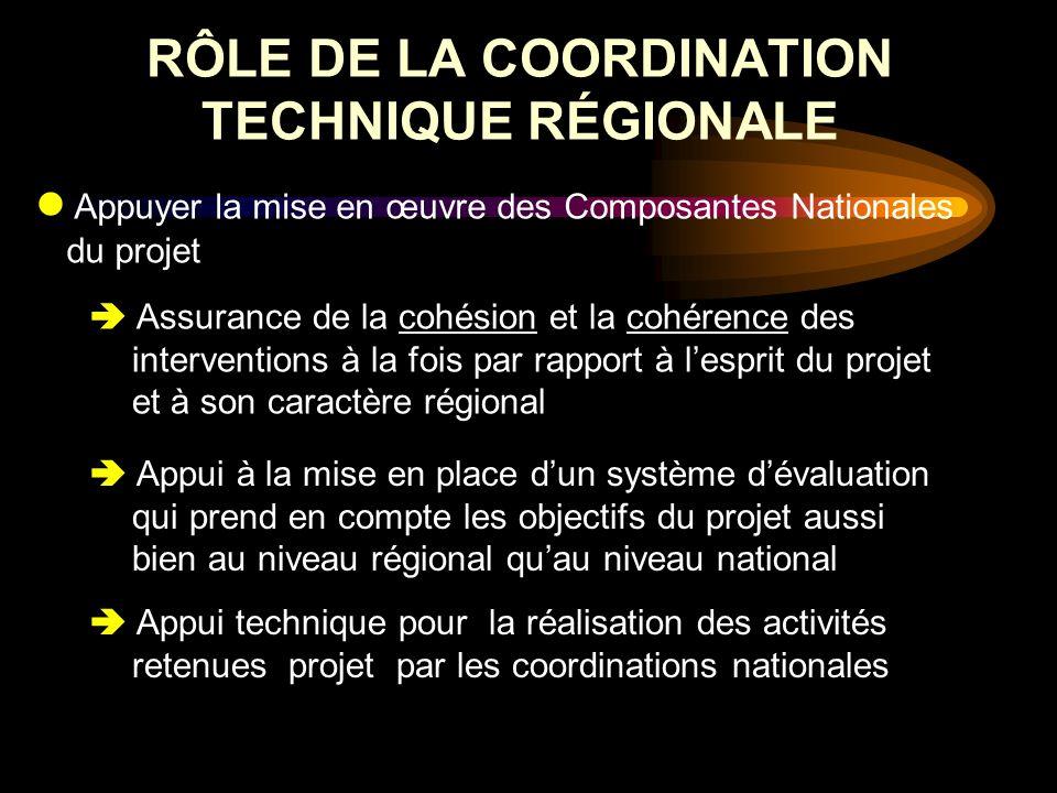 RÔLE DE LA COORDINATION TECHNIQUE RÉGIONALE Appuyer la mise en œuvre des Composantes Nationales du projet Assurance de la cohésion et la cohérence des