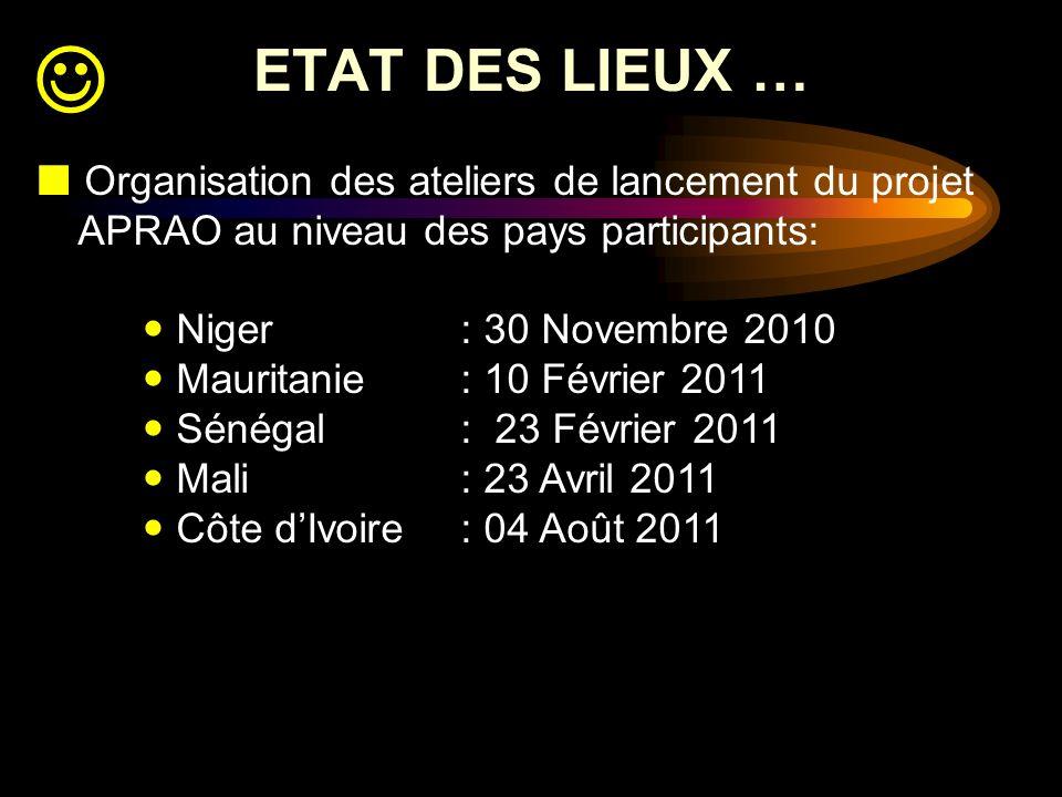 ETAT DES LIEUX … Organisation des ateliers de lancement du projet APRAO au niveau des pays participants: Niger: 30 Novembre 2010 Mauritanie: 10 Févrie